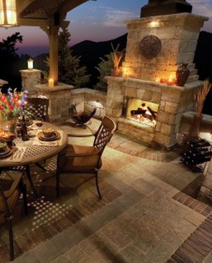 Amazing outdoor dining and fireplace