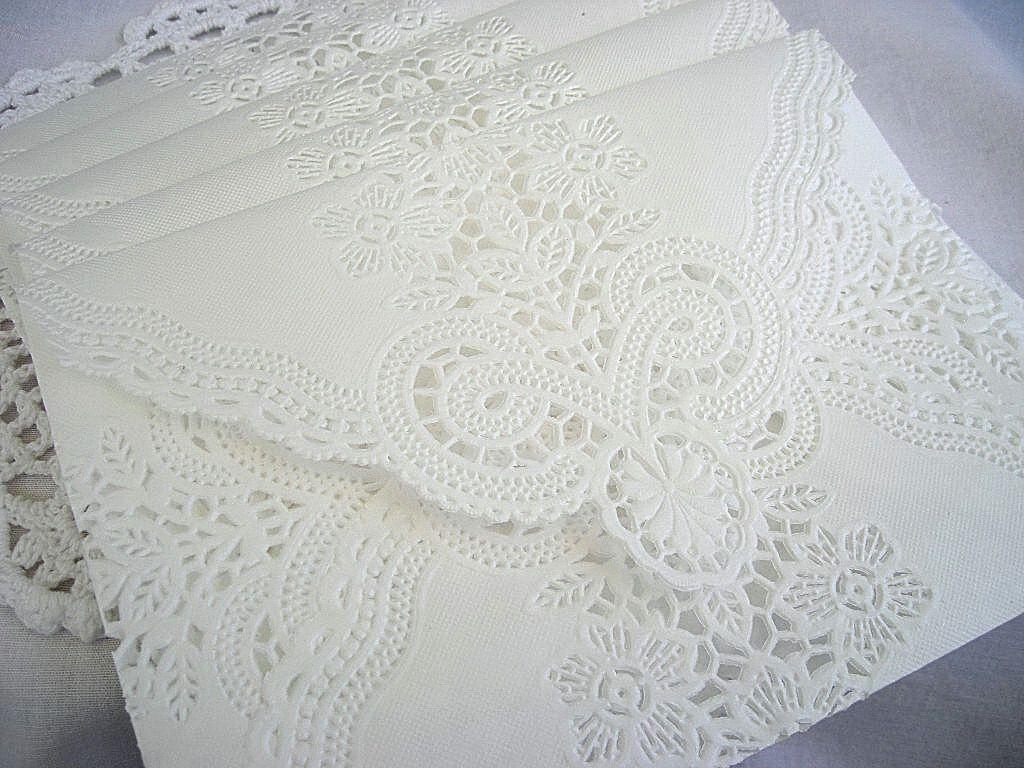 Doily Lace Envelopes Wedding Lace Envelope Custom Wedding