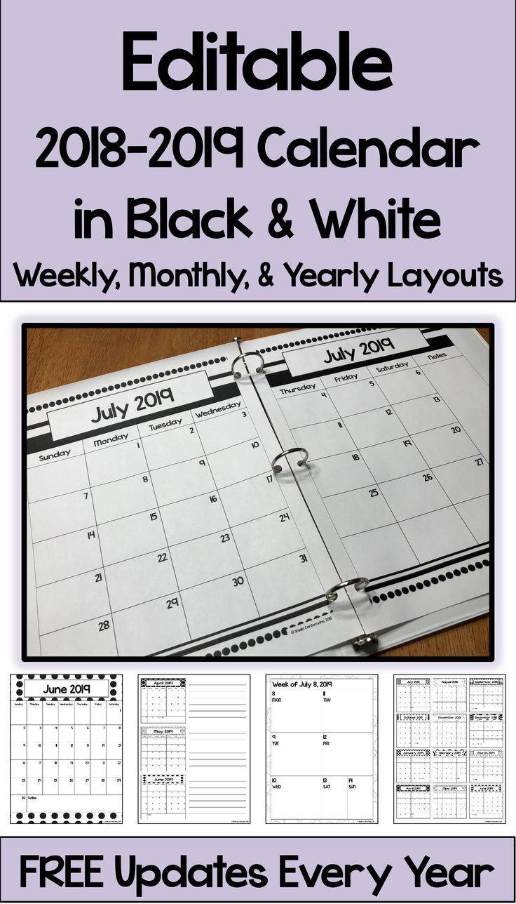 This 2018 – 2019 Editable Calendar is printable and is perfect for ...