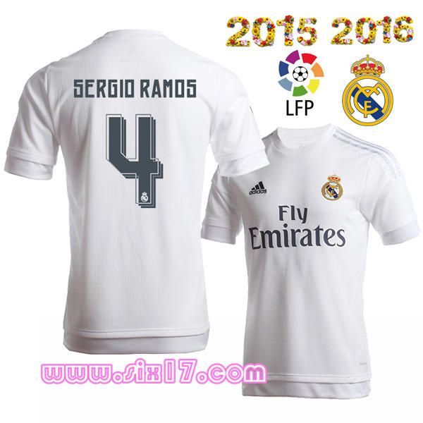 Flocage officiel maillot sergio RAMOS real madrid 2016 Domicile blanc col  rond football