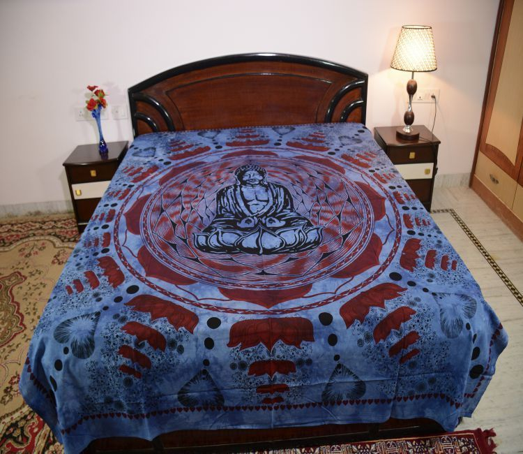 Cotton Double Tie-Dye Budha Print Blue Color Bedsheet Bedcover N Bedding