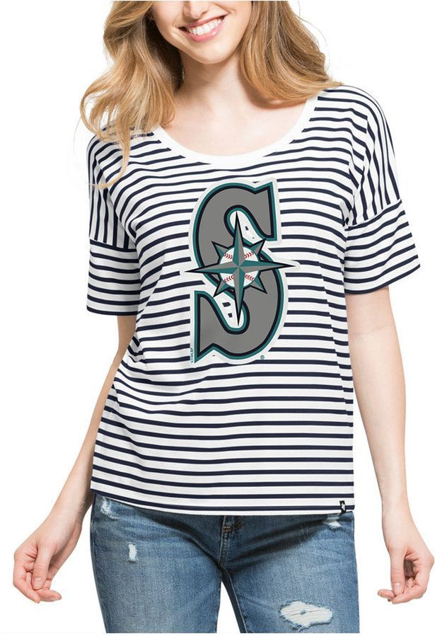 84985cabac2  47 Women s Seattle Mariners Coed Stripe T-Shirt.