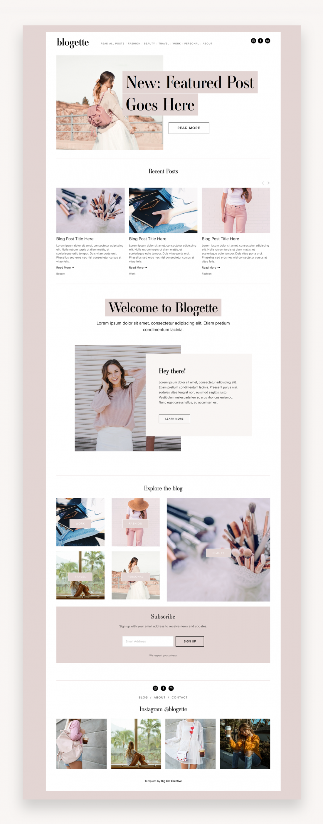 Blogette Squarespace Template - Market WP Themes