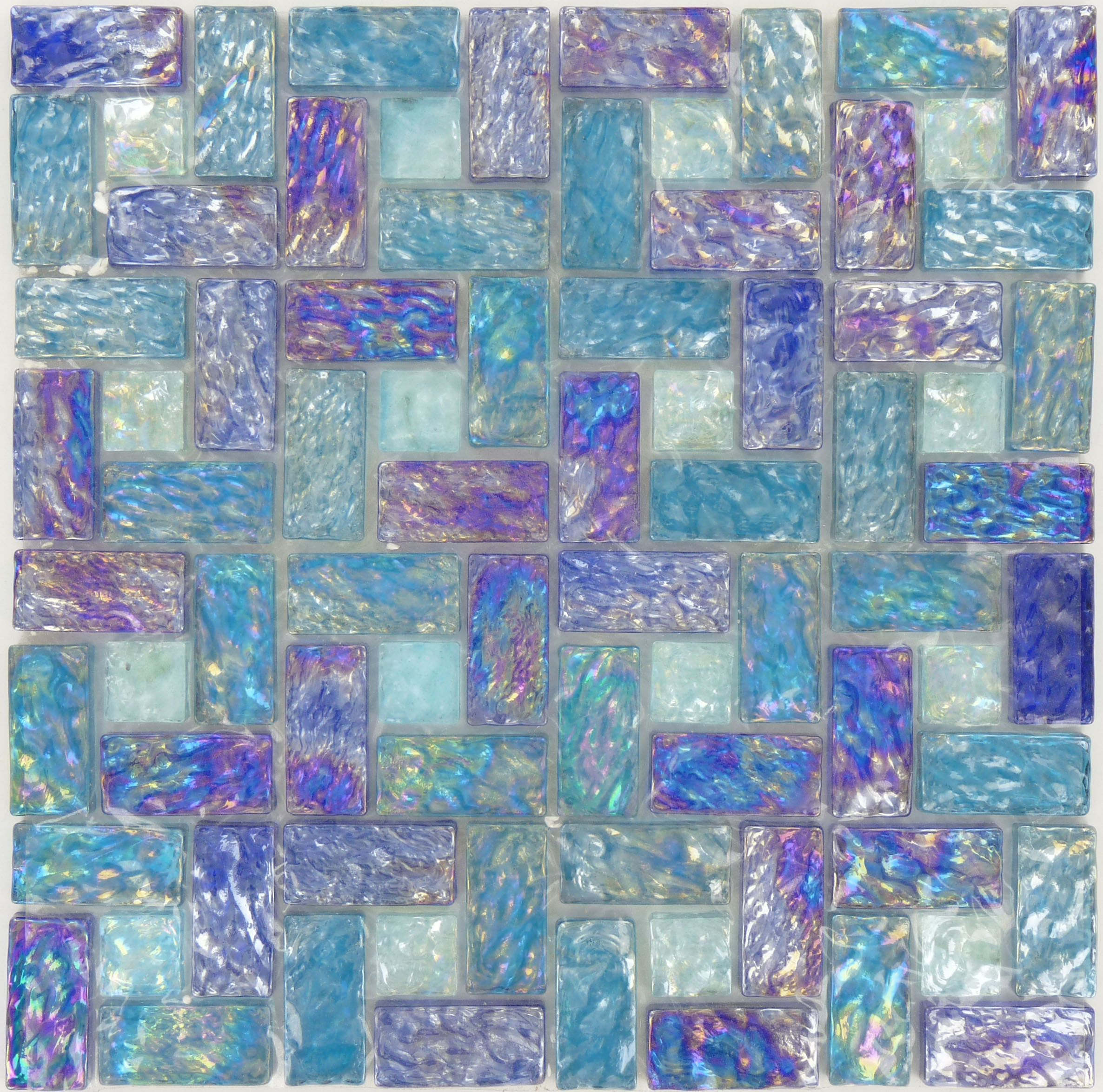 Ripple Aquatic Unique Shapes Blue/Green Glossy Glass Tile | home ...