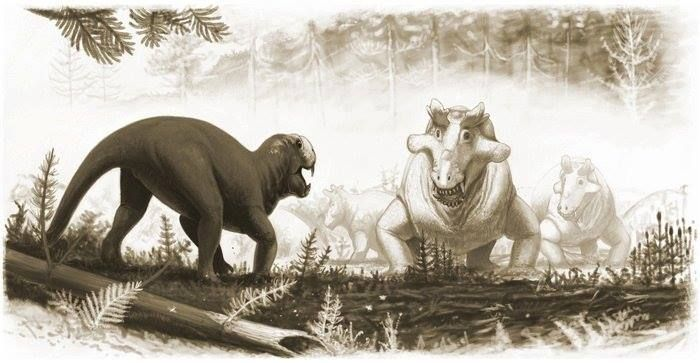 Dos sinápsidos de los géneros Biarmosuchus (el solitario de la izquierda) y Estemnosuchus (el gracioso elemento cornado que va en grupo), pérmico superior. Los sinápsidos son uno de los tres grandes grupos reptilianos que existen y de ellos proceden los mamíferos. Arte de Andrey Atuchin