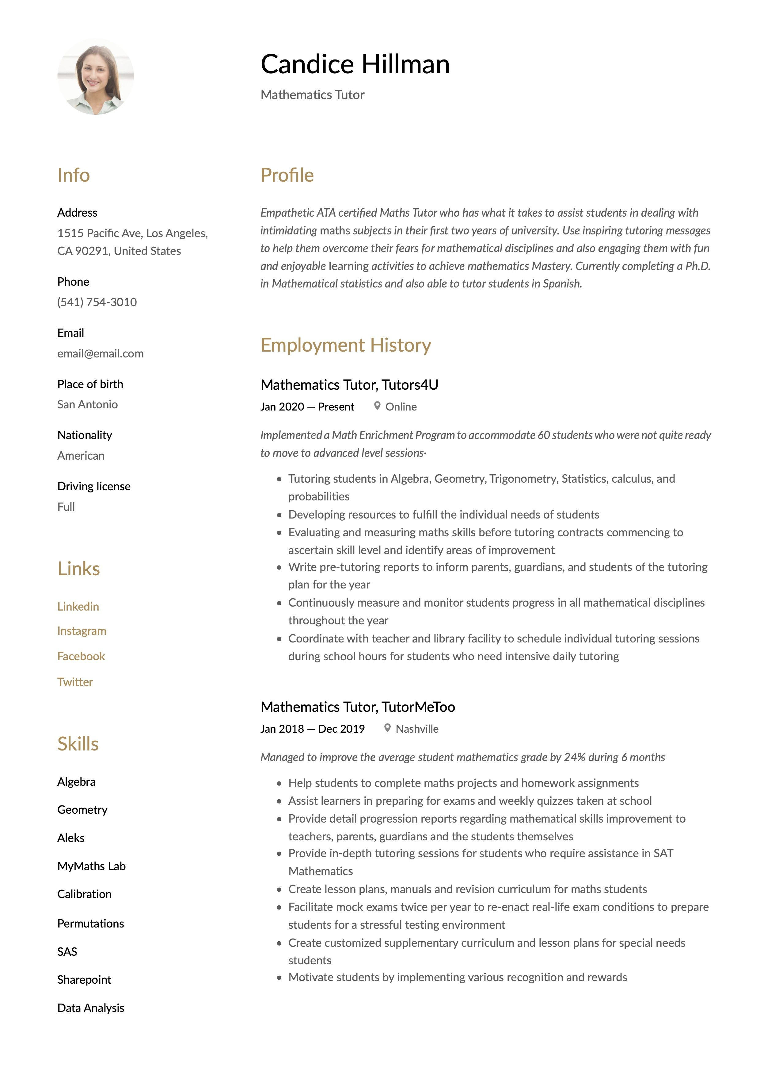 Mathematics Tutor Resume Template Mathematics Guided Writing Resume Writing