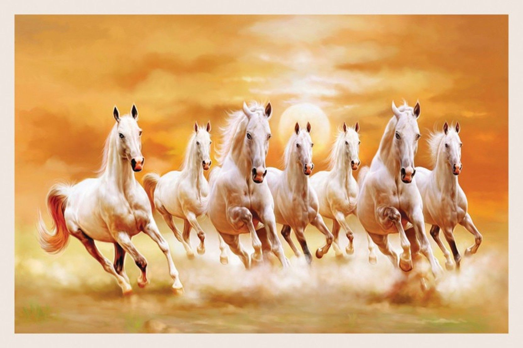 Seven White Horses 24x36 Inches Fine Art Print 7 White Horses Running Is Amazing Hd Wallpapers Fo Horse Canvas Painting Seven Horses Painting Horse Wallpaper