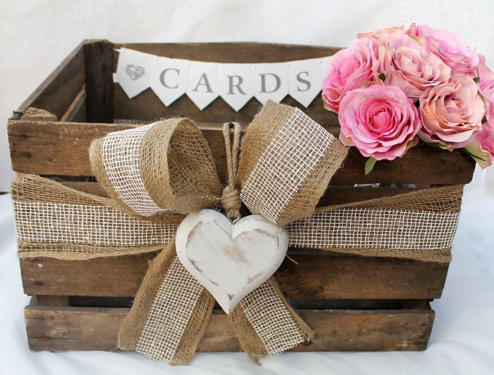 Vintage Wooden Wedding Card Heart Post Box Rustic Bushel