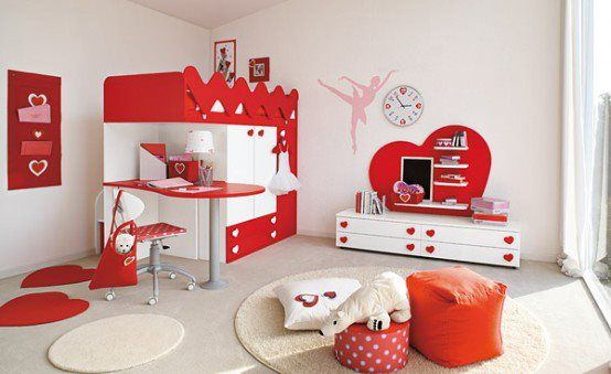 Red Is A Suitable Colour For A Girl S Bedroom Kids Interior Room Kids Bedroom Designs Kids Room Design