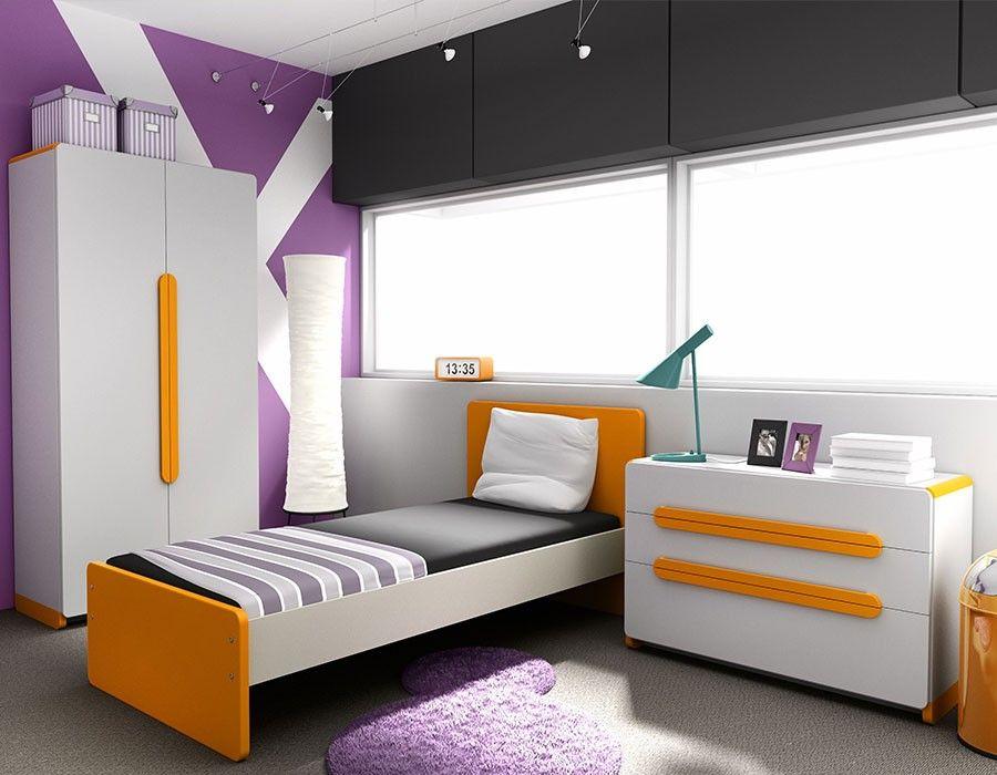 Chambre ado complète orange et gris design HUGO 2 | Chambre enfant ...