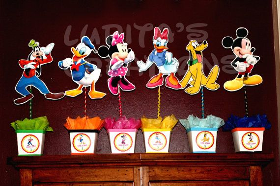 set of 6 mickey mouse club house centerpieces  by birthdayparty2, $100.00