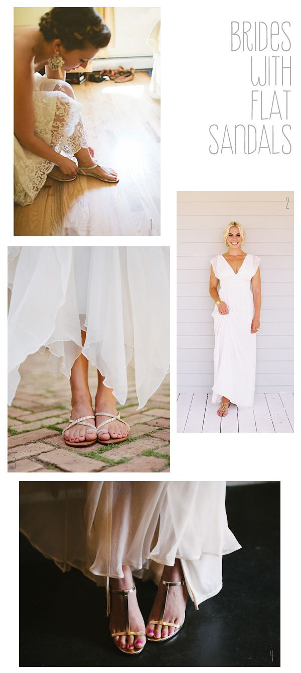 Brides With Flat Sandals Tea Length Wedding Dress Dresses