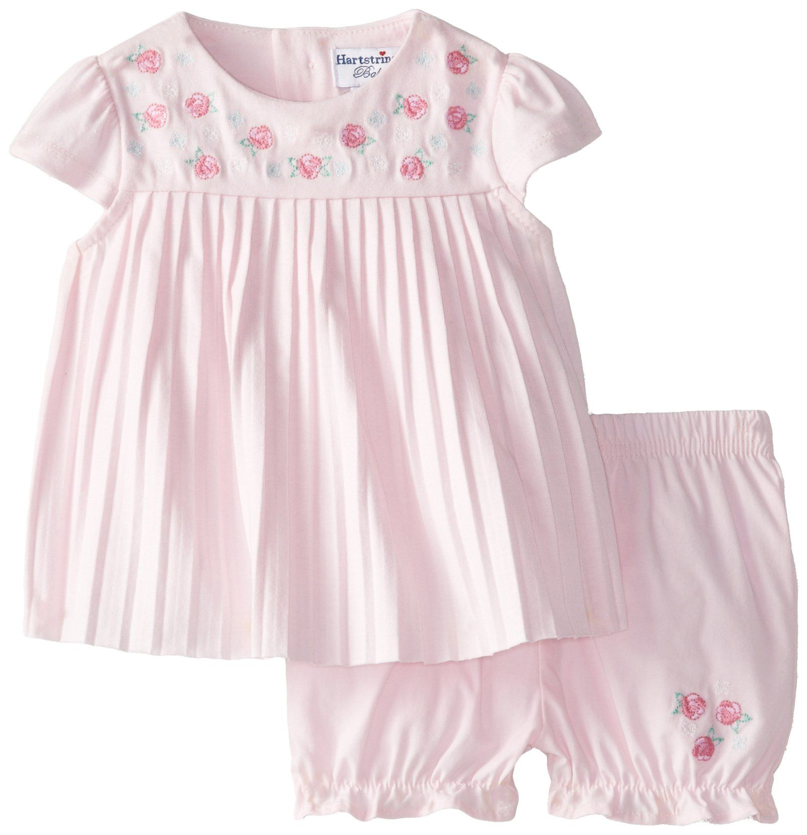 Hartstrings Baby-Girls Newborn Cotton Jersey Top and Poplin Bloomer Set, Blush Bride, 0-3 Months. 2 piece set. Embroidered roses at neckline, pleated bodice. Partial button up back. Coordinating cotton poplin bloomer short with embroidery on front.
