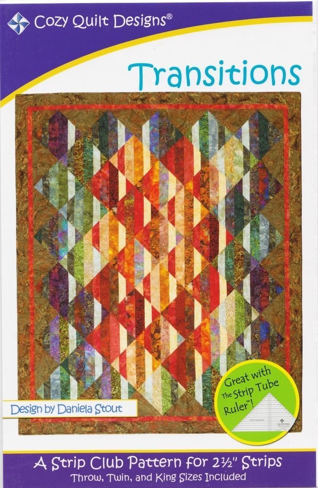Pattern~Love and Comfort~2 1//2in Strips Cozy Quilt Design-4 Sizes