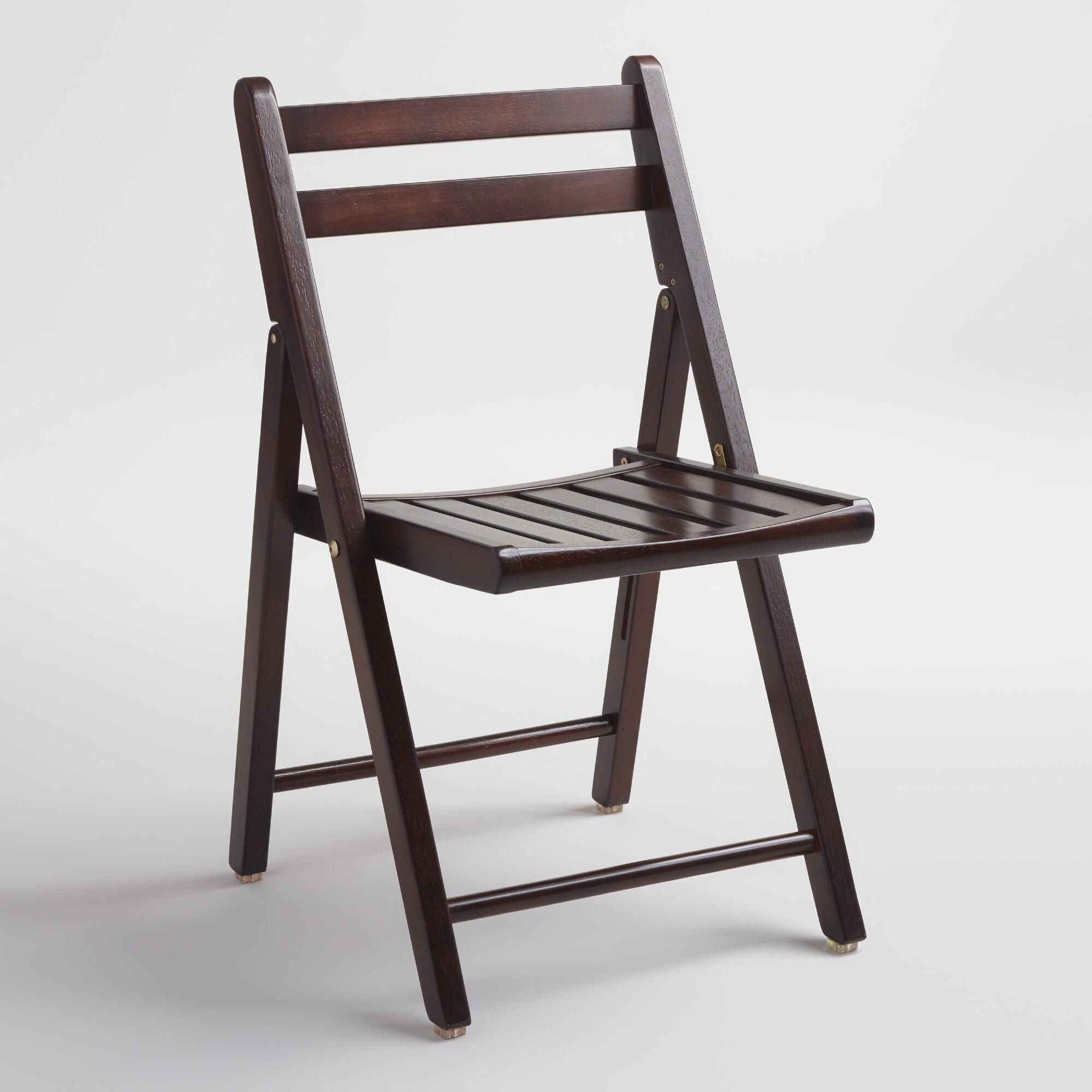 Espresso Wood Folding Chairs Set of 4