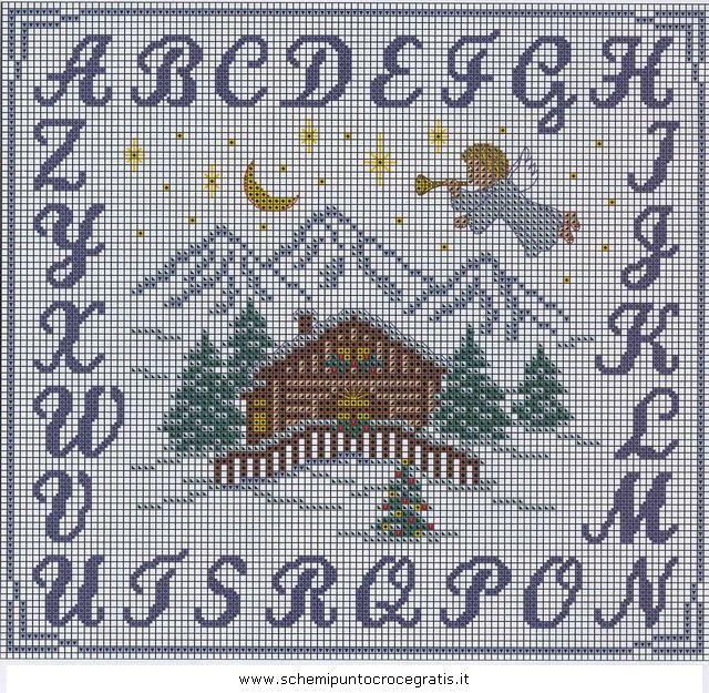 Natale alfabeti 60 schemi punto croce gratuiti punto for Alfabeti a punto croce per bambini