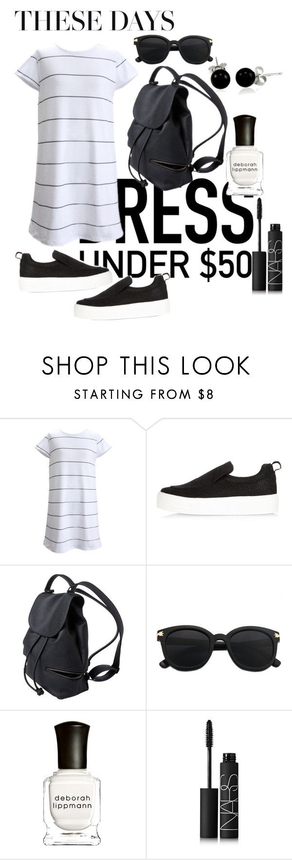 """""""Untitled #27"""" by magdalenagoldnagl ❤ liked on Polyvore featuring River Island, Deborah Lippmann, NARS Cosmetics, Bling Jewelry and Dressunder50"""