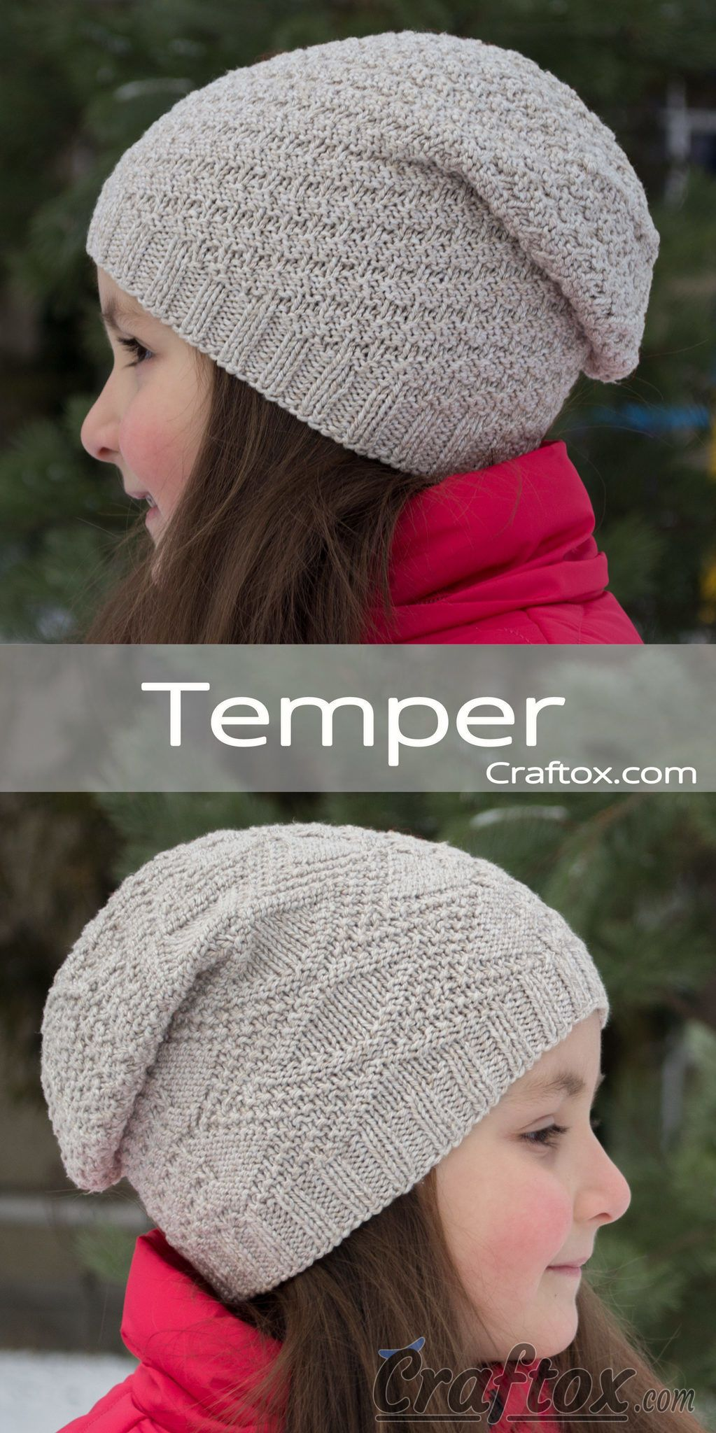 Child\'s slouchy beanie hat. Free knitting pattern for beginners ...