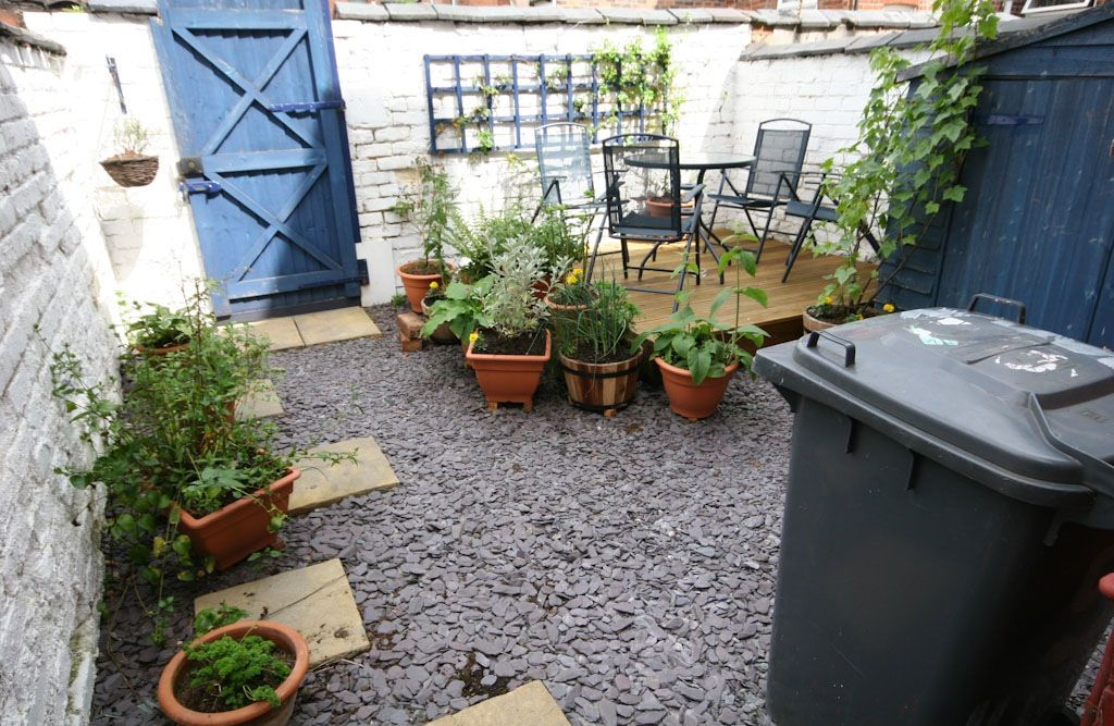 What A Concrete Yard Could Be Small Courtyard Gardens Small Back Gardens Yard Ideas Backyard