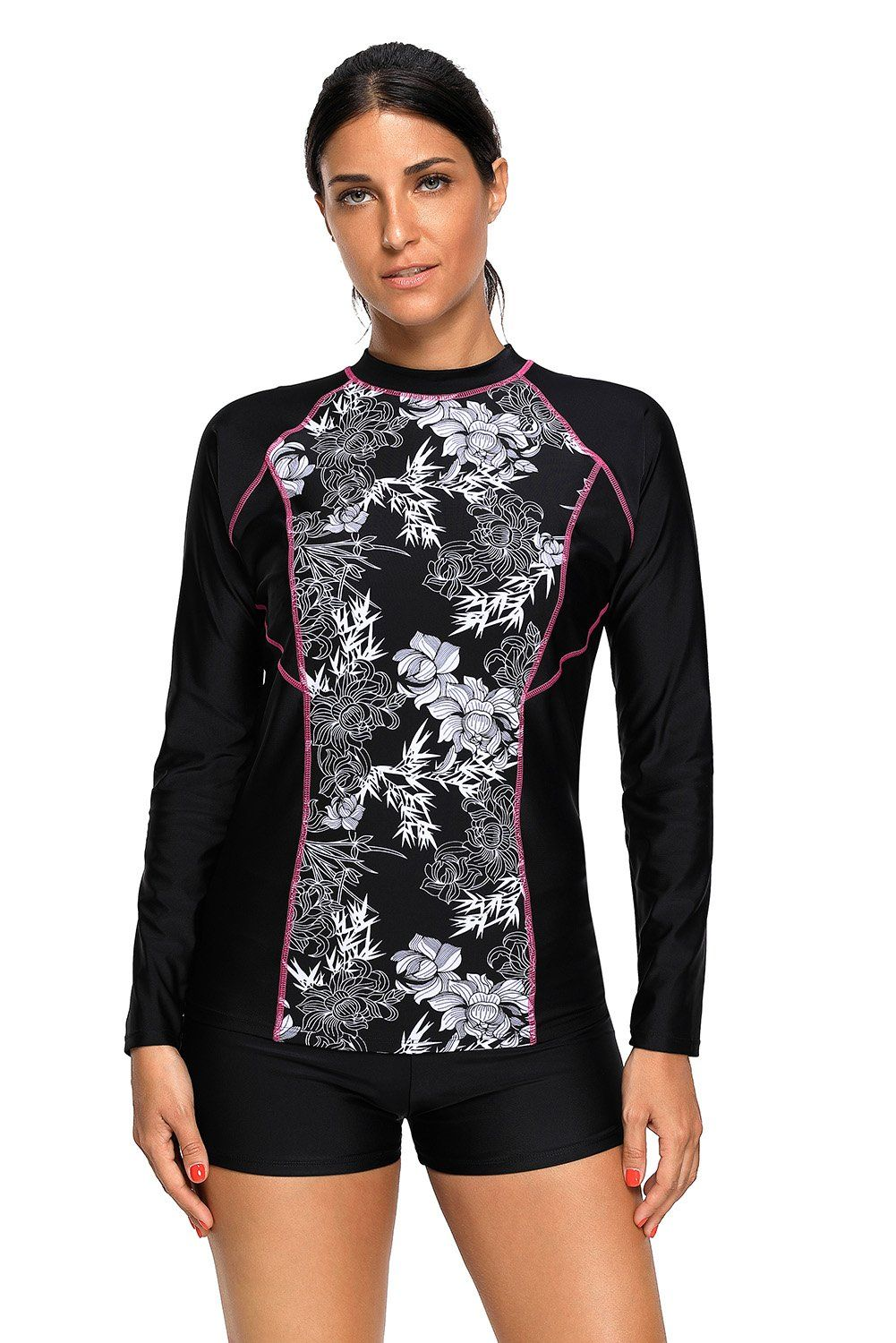 1b3e5a99461a3 High Neck Long Sleeve Rashguard Surfing Diving Swimwear