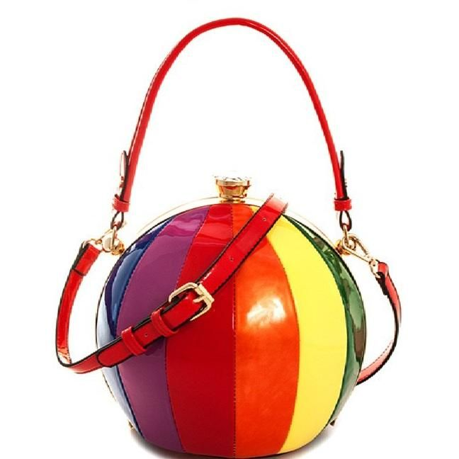Rainbow Beach Ball Purse Satchel Cross body Round Bag Glossy Patent ...