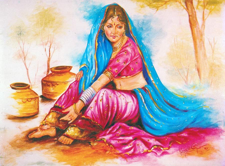 Indian Lady Reprint On Paper Unframed Miscellaneous