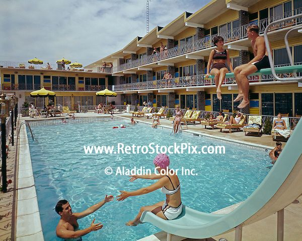 Couples by the pool of the Attache Motel in Wildwood, NJ 1960u0027s