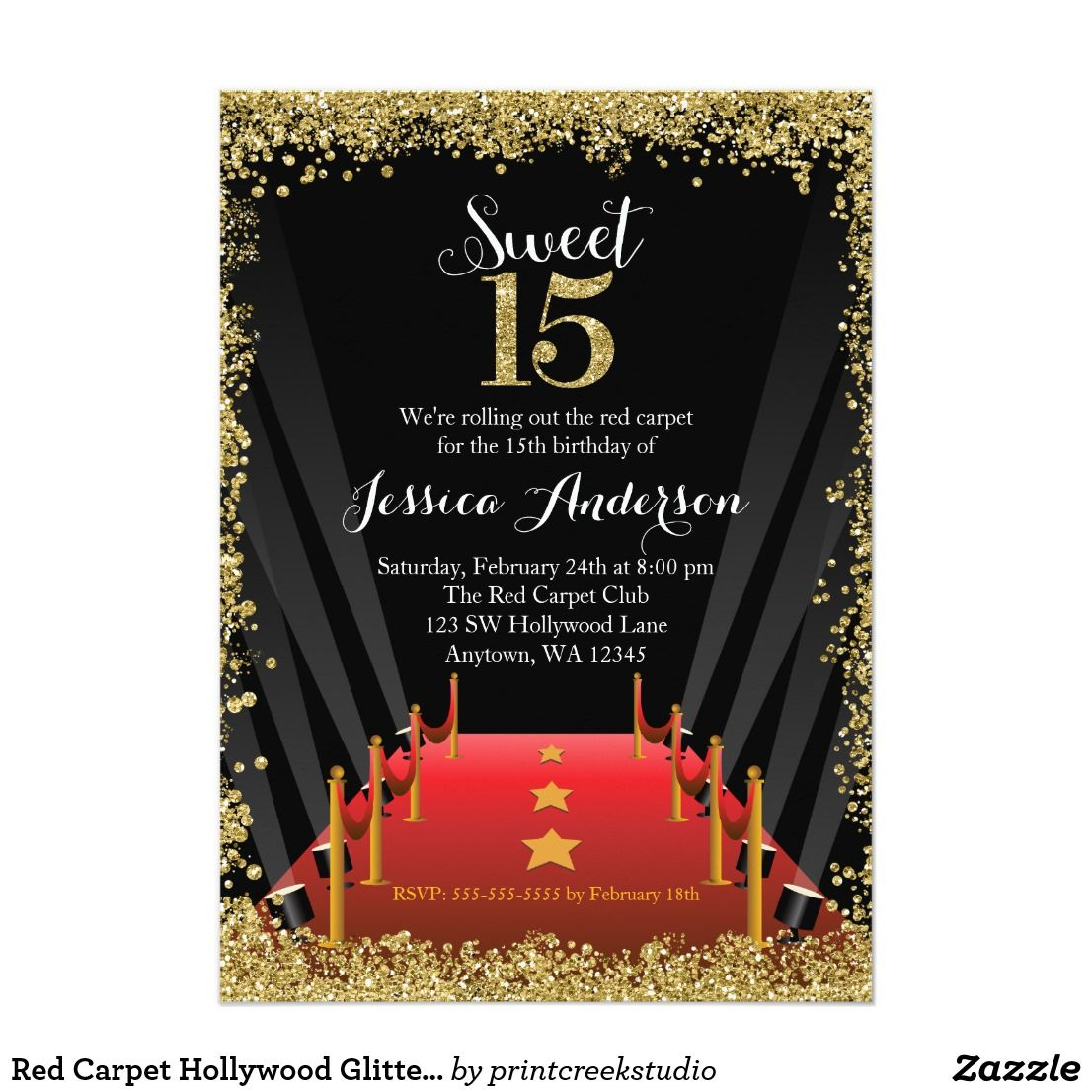 Red Carpet Hollywood Glitter Sweet 15 Quinceanera Card | Sweet 15