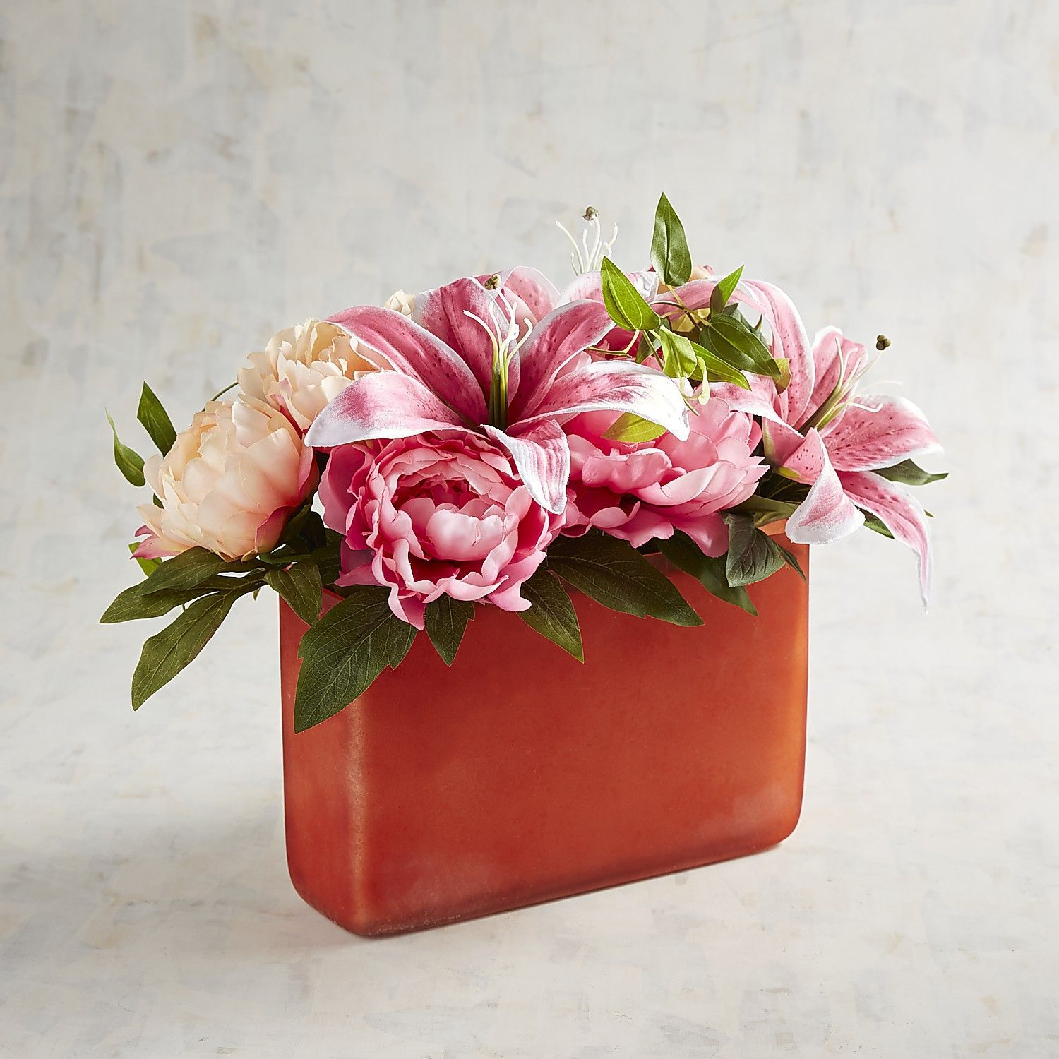 Faux Citrus Pink Peony Arrangement In Orange Glass Container Peony