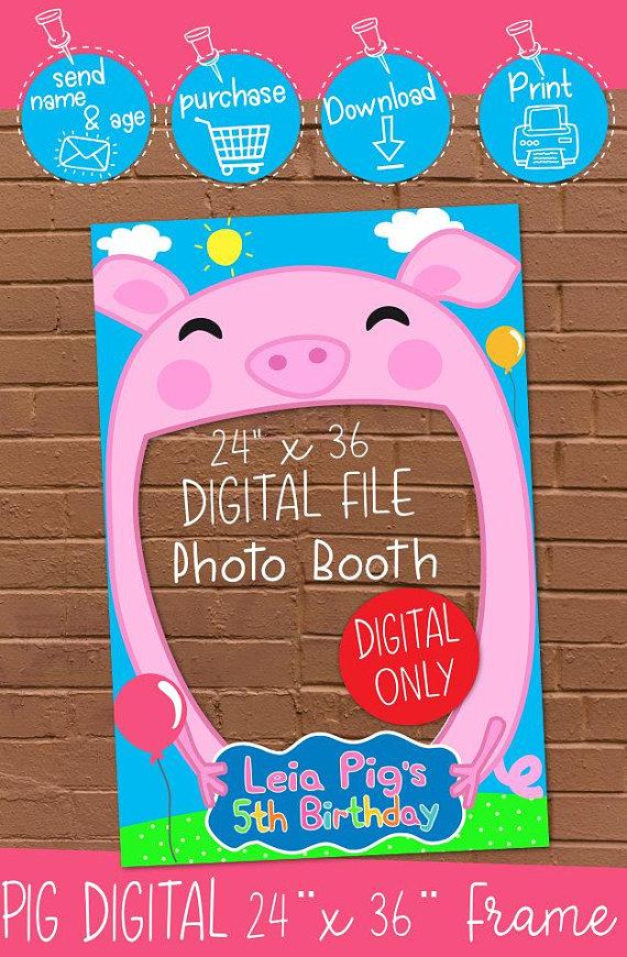 DIGITAL DOWNLOAD Pig Theme 24 X 36 Birthday Peppa Pig Inspired