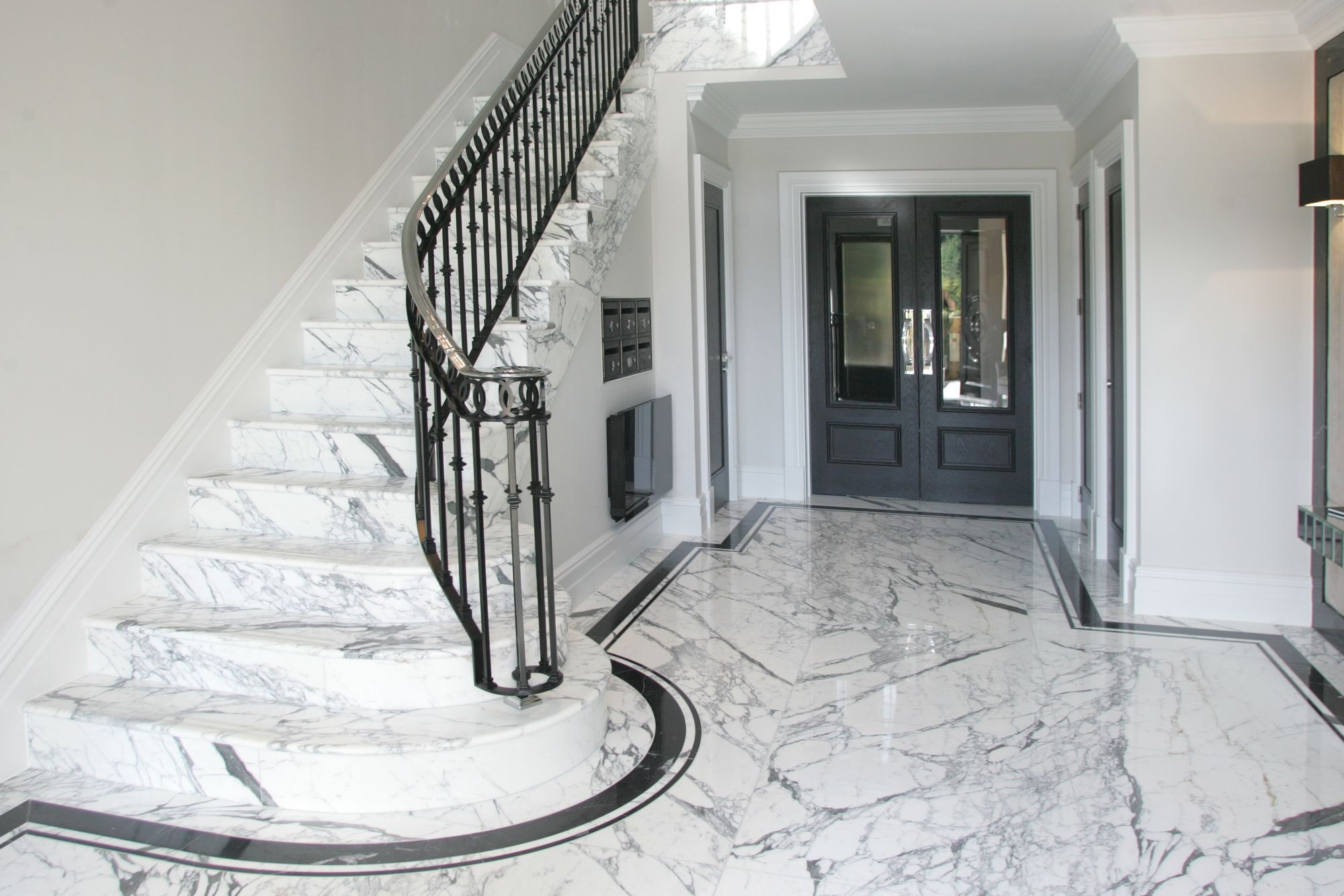 Best Arabescato Marble Staircase And Entrance Hall Floor With 640 x 480