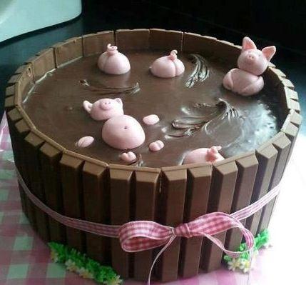 pigs swim in chocolate cake!