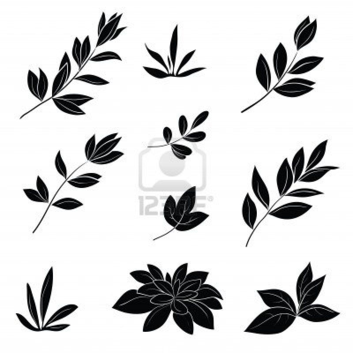 Stock Vector Leaf silhouette, Black silhouette, Black