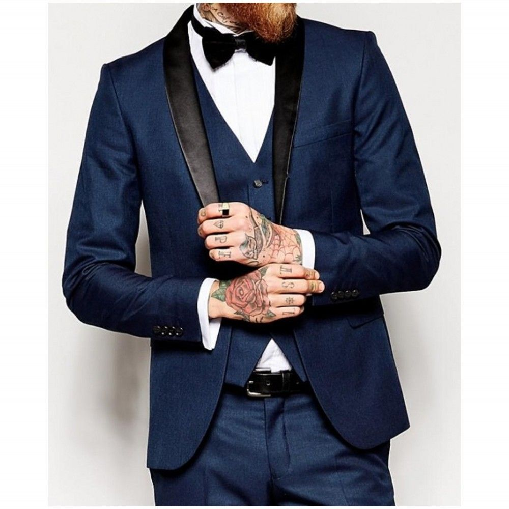 Free shipping three pieces navy male suits men wedding suits shawl
