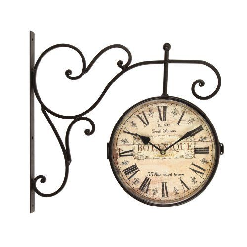 adeco wrought iron antiquelook brown round wall hanging double side two faces train