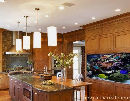 Kitchen with aquarium, Westport, CT. Rebecca Reynolds ...