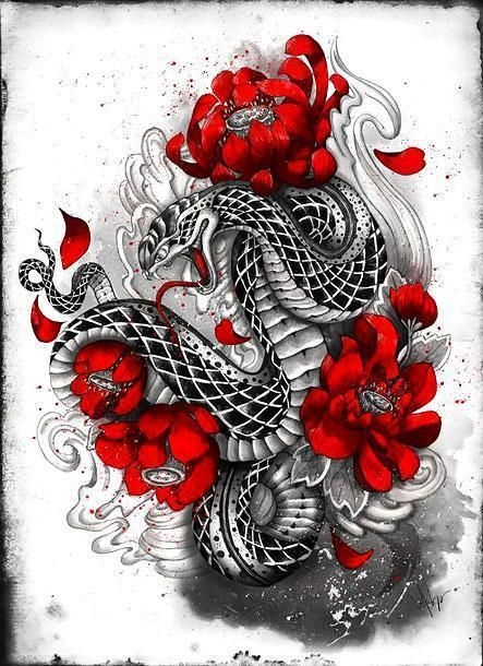 Asian Snake With Red Flowers Tattoo Design Japanese Tattoo Japanese Tattoo Art Diy Tattoo