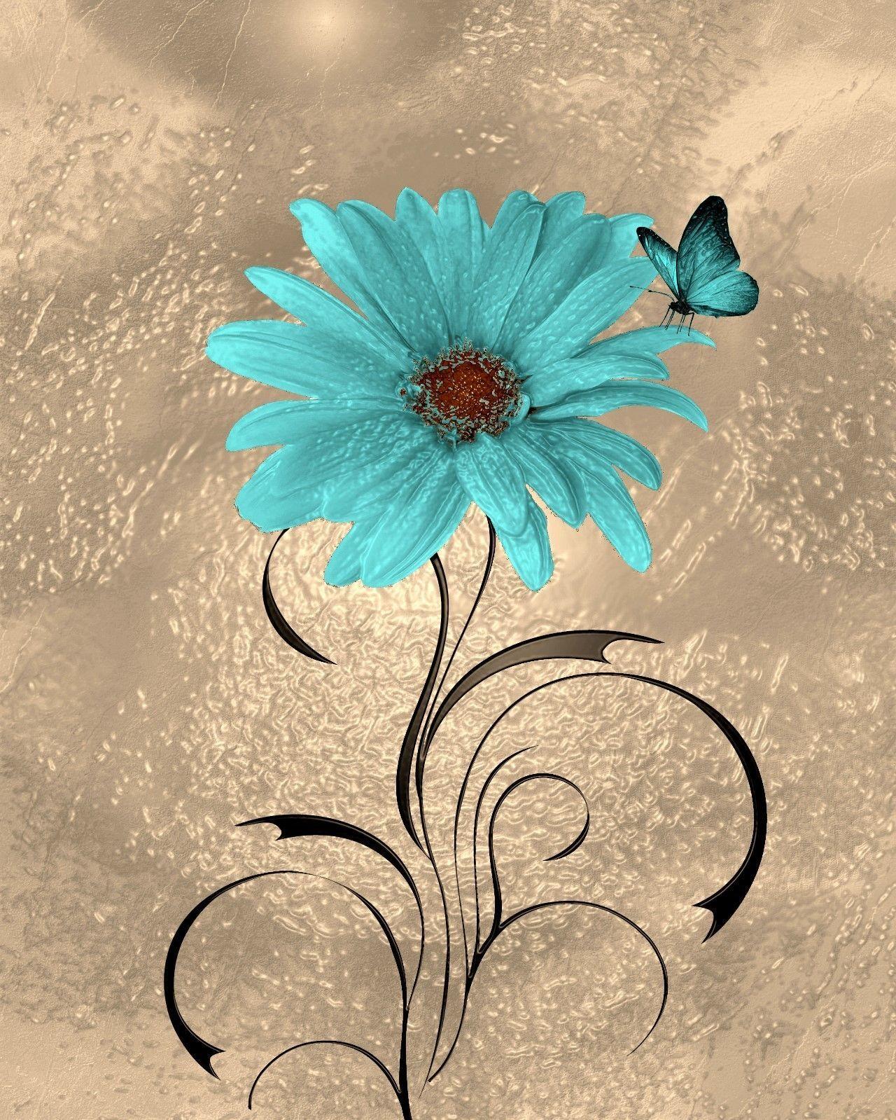 Teal Brown Wall Art Modern Floral Butterfly Artwork Home Decor Matted Picture Status Cuadros Pintados Con Acrilico Flores Pintadas Imagen Fondo De Pantalla