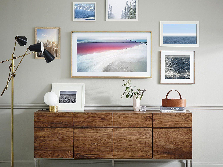 Amazon inch k frame tv beige light wood finish