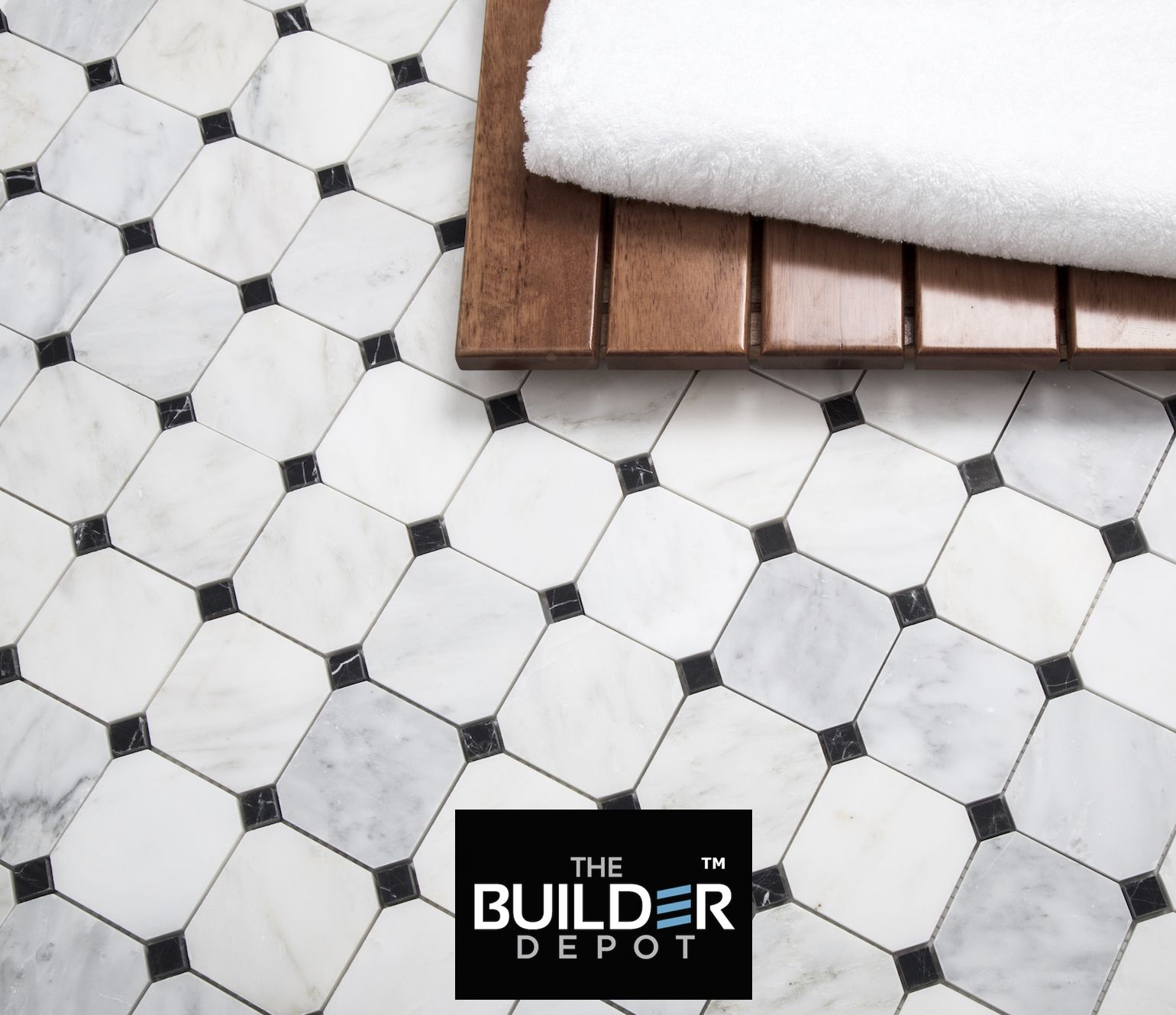 1095sf pietra carrara octagon mosaic available online with gray carrara pietra octagon honed mosaic bardiglio dot floor tile available online from the builder depot dailygadgetfo Gallery