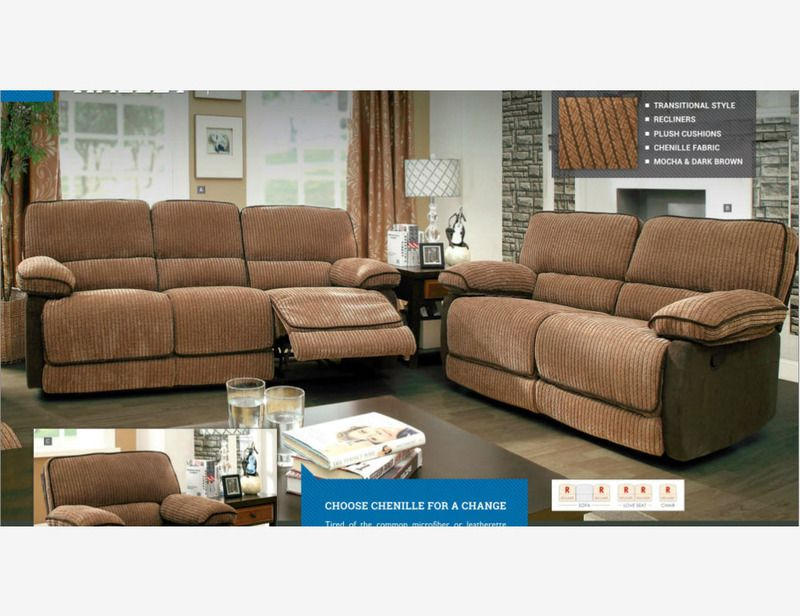 Mocha Brown Chenille Fabric Reclining Sofa Couch Loveseat Motion Plush