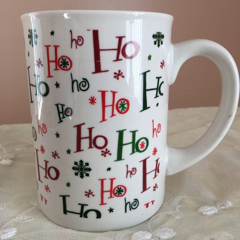 33a5e4778d7 Ho Ho Ho Holiday Coffee Cup Mug Jumbo Size Christmas Red White Green ...