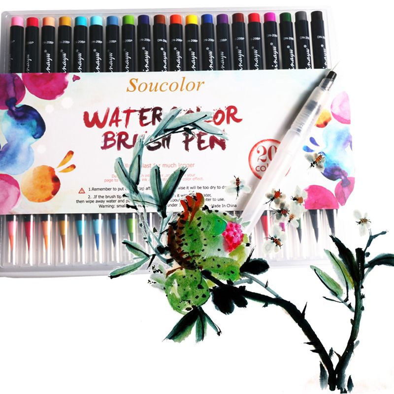 Compare Prices 20 Color Premium Painting Soft Brush Pen Set
