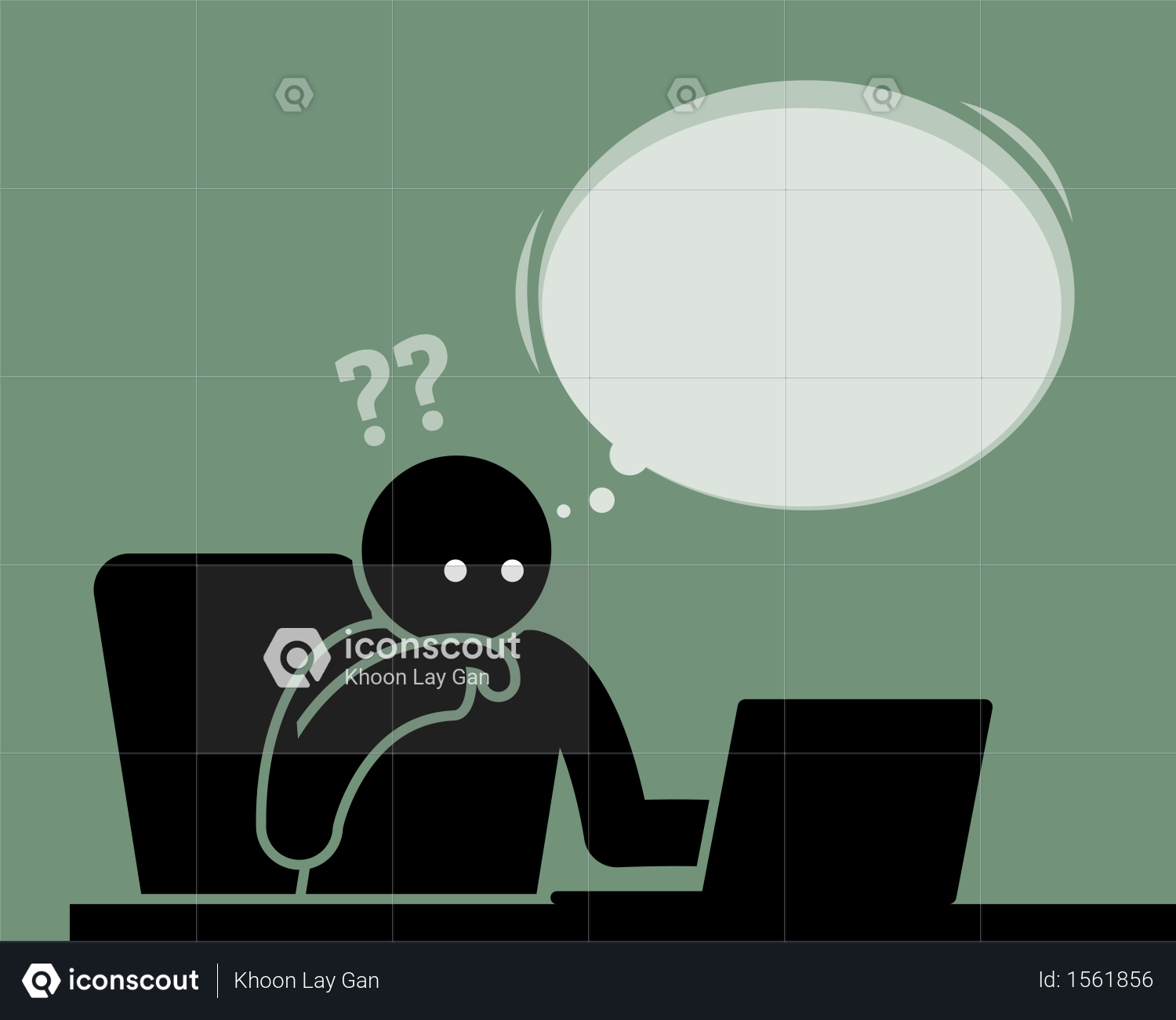 Man Thinking And Feeling Confused Viewing Computer Screen Illustration People Illustration Illustration Editorial Illustration