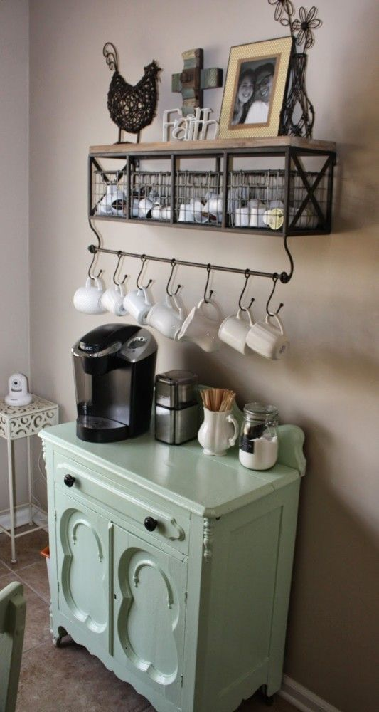 Charming Coffee Stations to Wake Up to Every Morning Small coffee station with a rustic lookSmall coffee station with a rustic look
