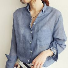 Nueva Primavera y el Verano de algodón de manga larga de lino camisa femenina…