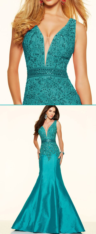 Fabulous Taffeta V-neck Neckline Mermaid Evening Dresses With Beaded ...