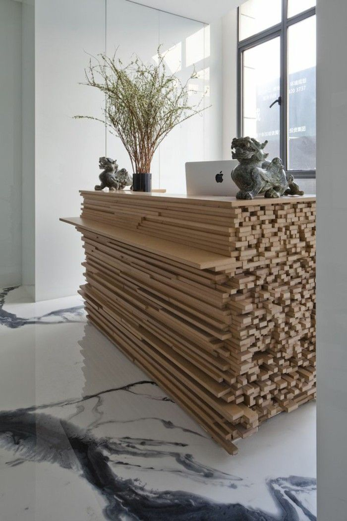 Great Reception Desk Consider Adding Mirrored Pieces To The Ends Of Select Wood Add High End Feel