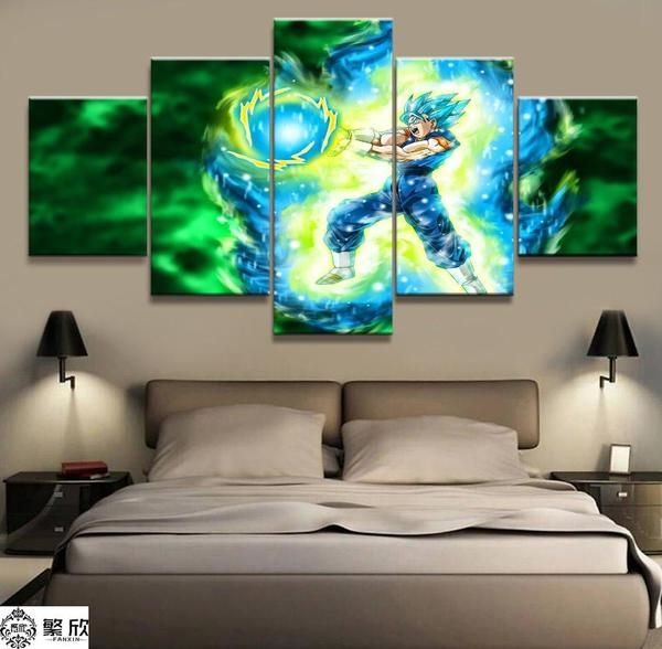 Dragon Ball – 5 Piece Animation – Super Saiya Goku Blue – Printed Wall Pictures Home Decor – Canvas