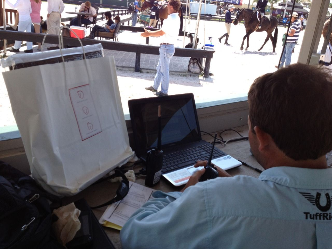The always smiling and good-natured, Rob McGregor, a ring steward at WEF, is pictured here with his winning attitude, scoring the Draper Therapies Best Foot Forward Award during the 2012 Winter Equestrian Festival in Wellington, FL.